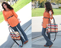 Courtney Dennis - Forever 21 Tunic, Forever 21 Bib Necklace, Missoni Bag, Wedges - By God She Screams