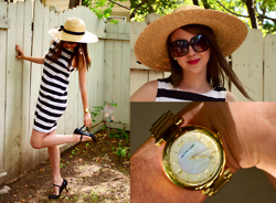 Kim Dalrymple - Vintage B/W Stripe Dress, Steve Madden Mary Jane Heels, Michael Kors Gold Mother Of Pearl Face Watch - French riviera