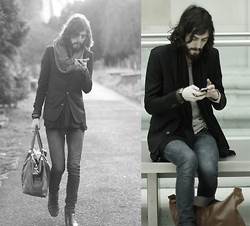 Tony Stone - The Kooples Black Jacket, Cheap Monday Blue Denim, H&M Brown Bag - LONDON// IPhone addiction