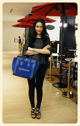 Lady lisa A - H&M Sparkling Knit, Zara Black Legging, M)Phosis Wedges, Céline Royal Blue Luggage Bag, Guess? Watch - The Royal Blue