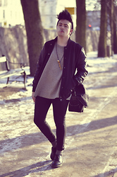 Nicklas Due - Weekday Grey Knit, Carlings Copenhagen Black Cotton/Leather Jacket, Cheap Monday Black Jeans, Dr. Martens Black Leather Shoes, Diy Deer Horn Necklace - #30
