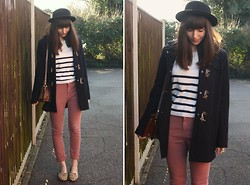 Sarah B - Navy Duffle Coat, Striped Jumper, Rose Coloured Jeans, Leo Print Loafers - Rose