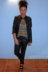 Fasionable Room By Maria - Pimkie Jacket, H&M Leather Pants, Marypaz Heels, Zara T.Shirt - Rock with touch of pink