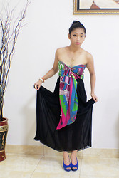 Gaby Pananda - Diy Top, Zara Maxi Skirt, Jeffrey Campbell Chunky Heels - DIY : scarf to top!