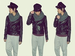 James M. - Forever 21 Infinity Scarf, Asos Faux Leather Jacket, From A Friend Sweatpants - Everybody gets a little lost.