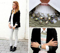 Victoria Y - Zara Black Blazer, Vintage Crystal Necklace, Asos Patent Brogue Booties - LIKE A BOSS