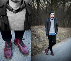 Micha Threepwood - Dr. Martens Boots, Weekday Chino, H&M Sweater, Rick Owens Leather, Ralph Lauren Denim, H&M Beanie - 010212 THE FROZEN ONE