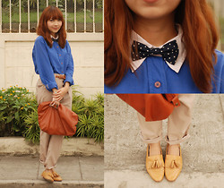 Bestie K - Guess? Shirt, Trousers, Clutch, Bow Tie, Primadonna Loafers - I make lists in my sleep
