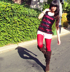 Josephine Chang - Forever 21 Red And Black Sequin Tank, Forever 21 Blush Pink Shorts, Forever 21 Red Knit Tights, Forever 21 Brown Wedge Boots - You're the one he says he wants but I'm the one he dreams of
