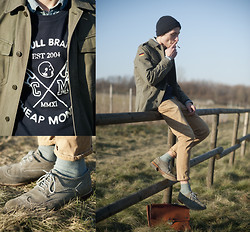 Micha Threepwood - Asos Shoes, Uncle Bag, German Army Jacket, H&M Beanie, Cheap Monday College Sweater, Scotch Soda Jeans Shirt, Acne Studios Chino, Weekday Socks - 020212 CHIC COLLEGE GUY