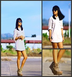 Lai Serrano - Mango Button Down Polo, Topshop Leopard Print Platform Wedges - WITH NOTHING BUT YOUR SHIRT ON