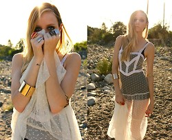 Amber Saylor - Pins& Needles Sheer Maxi, Gold Cuff, Collection Of Rings - 10 Cent Pistol