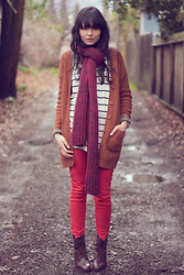 Danielle Payton - Madewell Boots, H&M Knit Cardigan, American Apparel Tri Blend Rib Cardigan, Gap Scarf, Gap Striped Tee, Marc By Jacobs Watch, Zara Jeans - February Colors