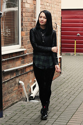 Michelle L. - Penguin Awesome Socks That Decided To Make A Guest Appearance, H&M Black, Urban Outfitters Green & Black Check Shirt, George @ Asda Black Velvet Leggings, Dr. Martens Black Patent Doc - I Used to Wear Colours, but then I Took an Arrow to the Knee