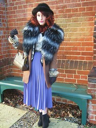 Demi Lauren Abbott - H&M Shoe Boots, Fur Collared Gloves, Charity Shop Black Faux Fur Hat, Topshop Faux Fur Cape, Charity Shop Pleated Skirt, Primark Lace Collared Top, Vintage Belt, Vintage Handbag - February