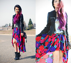 Beneaththeglass . - Forever 21 Jacket, Thrifted Metallic Tank, Vintage Skirt, Vintage Boots, Forever 21 Bag - Smell the Roses