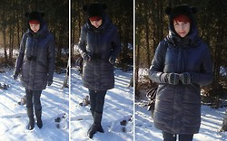 Justyna * - Cropp Town Bear Hat, Moodo Warm Winter Coat, H&M Skinny Jeans, Reserved Dark Gray Boots, New Yorker Patterned Gloves - Crazy winter, - 20°C