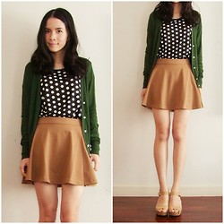 Kapongpeang K. - Polka Dot Tee, Morning Kiss Brown Skirt, Mango Deep Green Cardi, Favorite Heel - February :D