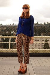 Stacey L - Anthropologie Blue Sweater, A.B.S. Cropped Leopard Print Pants, Jessica Simpson Platform Heels - Impractical footwear