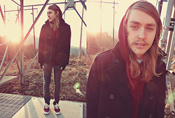 Josh M. - Express Peacoat, Urban Outfitters Maroon Hoodie, Vans Jeans, Maroon Shoes - When its cold outside, hold me tight. / Giveaway on blog
