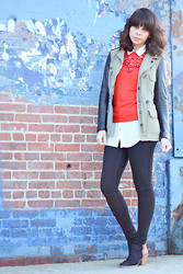 Delmy Rivera - Zara Utility Jacket, J. Crew Sweater, J. Crew Necklace, Rachel Comey Booties - RED BUBBLES