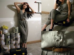 Kat - Vintage Dark Green Jumpsuit, Steve Madden Black Pumps, Brown Belt - ALEX
