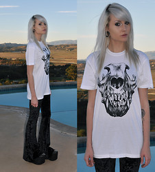 Mollie Paige - Krew Filthy T Shirt, Urban Outfitters Lace Velvet Flares, Jeffrey Campbell Substitute Studded Platform Shoes - Filthy