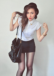 Cindy Ashes - Asos White Top With Gold Details, Prada Black Sling Bag - ! Oxford Lady !