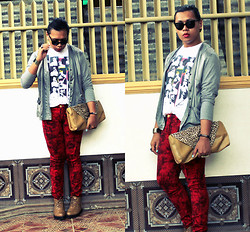 Miki Gumia - Sm Dept Store Graphic Tee, Gitti Cardigan, Tuke Red Acid Washed Jeans, Vintage Clutch, So Fab Boots - High strung