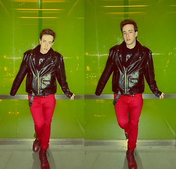 Tim Roddy - Asos Snood, Nyc Leather Jacket, H&M Red Jeans, H&M Boots - Born @ Night
