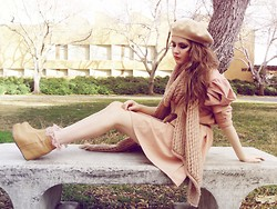 Bebe Zeva - Yes Style Nude Beret, Yes Style Rose Knit Scarf, Yes Style Puff Sleeve Rose Dress, Jeffrey Campbell Wedges - Apricot & Rouge