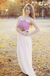 Mariah Nicole - Handmade Sunflower Locket, Handmade Long Dress, Creme And Lavender/Pink - Tangled