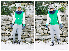 Giuseppe Guevara - United Colors Of Benetton Pom Hat, Green White Varsity Jacket, Berska Gray Sweat Pants, Chuck Taylor High Cut Winter Shoes - Snowy February