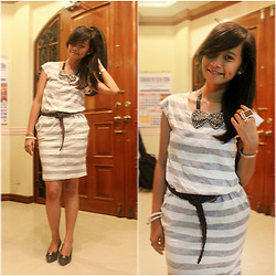 Leona Piquero - Cube Stripey Dress, Nccc Department Store Braided Belt, Cecille Black Heels W/ Ribbon - Life Goes On
