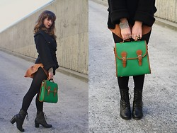 Jackie Groffman - Marc By Jacobs Sweater, Bag, Bonnibel Boots - Green Bag with Marc Swag