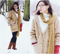 Nesha W - Monsoon Scarf, D&G Sweater, Vintage Coat, Ugg Boots, Dents Gloves, Bonlook Glasses - Into The Woods
