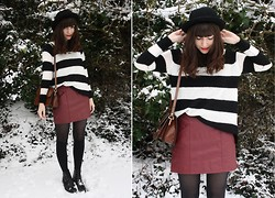 Sarah B - Striped Jumper, Burgundy Leather Skirt - Snow & Stripes