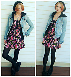 Clove Bud - Forever 21 Beanie, Lia Sophia Necklace, Abercrombie & Fitch Denim Jacket, Demonia Creepers - Pastels, Neon and Superbowl Sunday.