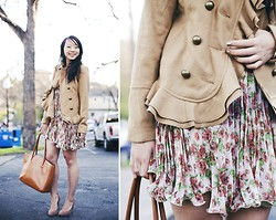 Diya L - Urban Outfitters Ruffled Peacoat, Gojane Floral Dress - Spring