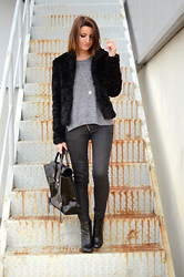 Alexandra Per - H&M Furry Coat, H&M Sweater, Pull & Bear Pants, 3.1 Phillip Lim Bag - Black furry