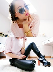 Kasia Szymków - Lorus Watch, New Look Sweater, C&A Sunglasses, Stradivarius Fake Leather Pants, Jc Lita - BABY PINK