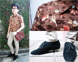 Erin Serrano - Comfort Basic Khaki Colored, Cobb & Co. Brown Leather Bag, S Point Brown Polo With Animal Prints, Shoe Gallery Black Suede Oxford - I'm Just a Poor Boy.