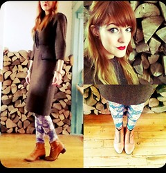 Lucie Kerley - Rensor Of London Vintage Tweed Brown Dress, H&M Floral Leggings, Topshop Aiden Tan Zip Up Ankle Boots - Kiss Me Quick Dior Ruby Red Lips, Vintage Tweed and Florals