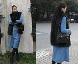 Ya Yin -  - BLUE WITH BLACK ..A LITTLE BIT OLD CHINESE STDUENT STYLE..IF