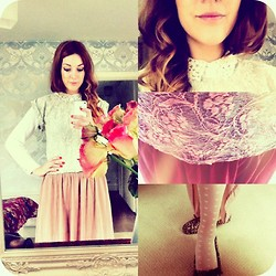 Lucie Kerley - Topshop Lace Crop Zip Back Top, Topshop Sheer Cream Lace Button Up Blouse, Topshop Latte Coloured Sheer Maxi Skirt, Primark Heart Pattern Cream Tights - Let me kiss you hard in the pouring rain
