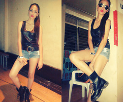 Jonii Alburo - Ray Ban Glasses, Marquise Leather Top, Black Sheep Shorts, Dr. Martens Boots - I got the style and I got you!!! <3