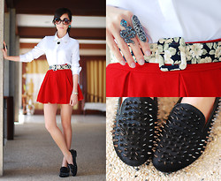 Kryz Uy - Romwe Spikey Slippers, Clothes For The Goddess Red Cheerleader Skirt, Oh My Frock White Top With Metal Collar Detail, Detail By Details Floral Belt - Shoes that kill
