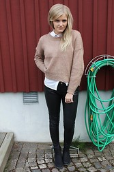 Isabella T - Gina Tricot Knitted Sweater, H&M Shirt, H&M Leather Pants - 1234