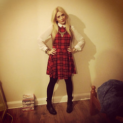 Amber C - New Look Tartan Dress, Topshop Blouse, Miss Selfridge Biker Boots - Tartan <3