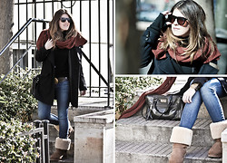 Cabinet in Ruins * - Hoss Scarf, Ugg Boots, Levi's® Jeans, Topshop Coat - .xl scarf...